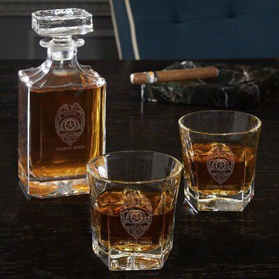 Darby Home Co Mcmillion 3 Piece Badge Custom Whiskey Decanter Set Customize Yes Whiskey Gift Set Whiskey Gifts Whiskey Decanter