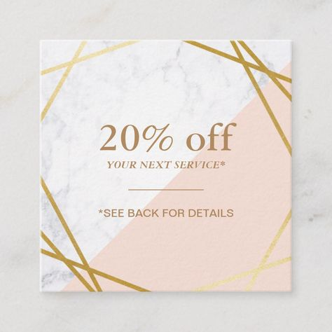 Modern Minimalist Geometric Marble Discount Coupon Square Business...