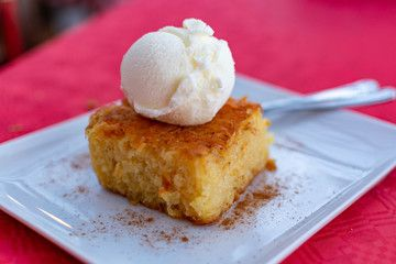 Piece Of Tasty Vegan Orange Cake With Vanilla Ice Cream Served On White Board Ad Orange Cake Vegan Piece Tasty Orange Cake Tasty Vanilla Ice Cream