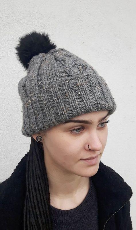 8329af2cea3 Pompom hat Gray beanie Gray knit hat Gray pompom beanie