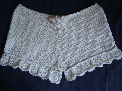 Crochet Shorts in Fine Cotton  H Inspired  by GabysSchaufenster, $55.00
