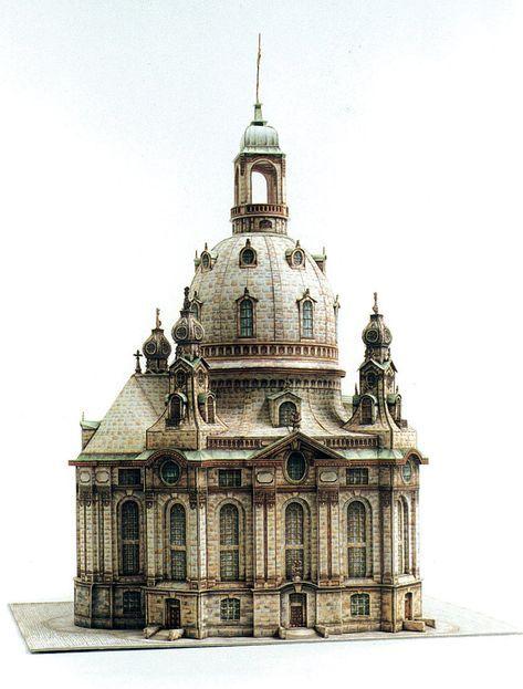Frauenkirche Dresden Papieren Modellen Gebouwen Modellen