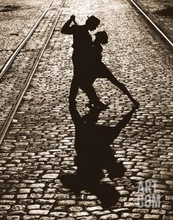 """The tango may end, but passion's fire blazes on in """"The Last Dance."""" The romantic final pose of two silhouetted tango dancers is imparted with a sense of eternity by surrounding train tracks which extend into infinity. Elongated shadows cast upon quaint c Dancing In The Moonlight, Dancing In The Dark, Fred Astaire, Tanz Poster, Danse Salsa, Dance Like No One Is Watching, Argentine Tango, Shall We Dance, Salsa Dancing"""