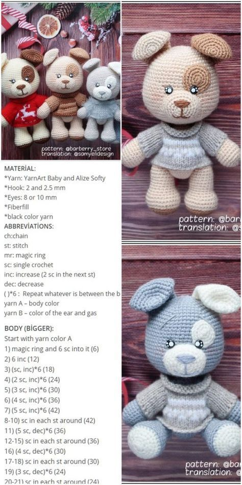 Elegant Free Crochet Teddy Bear Pattern | Crochet teddy bear ... | 948x474