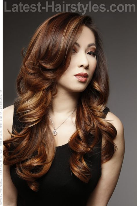 Long Hairstyle with Bouncy Curls and Balayage Highlights
