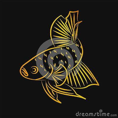 Betta Wild Fish Line Art Golden Minimalist Vector Logo Di 2020