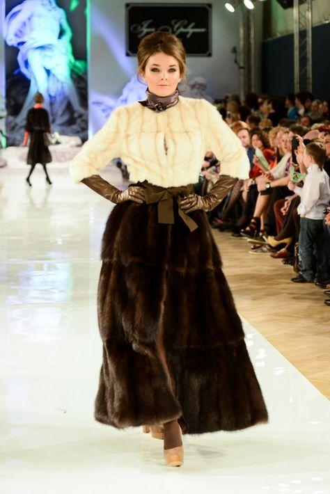 mink jacket & sable fur skirt