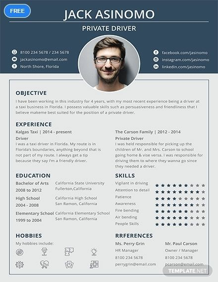 A Contemporary Resume For Those Applying For A Driver Position Get To Effectively Hi Creative Resume Template Free Infographic Resume Template Resume Template