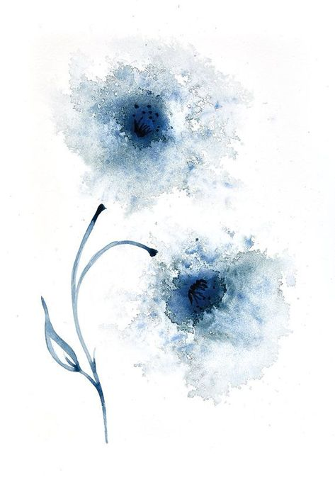 Signed print of navy blue flowers abstract painting - available in sizes 6x4, 8x6, 10x7, 12x9, 16x12, 20x15  #10x7 #12x9 #16x12 #20x15 #6x4 #8x6 #abstract #blue #flowers #Navy