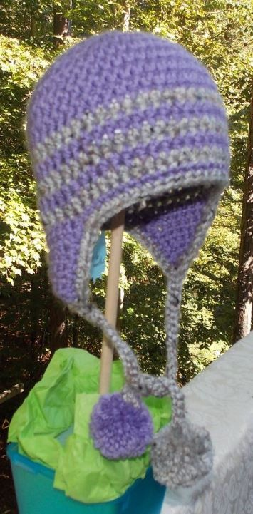 Purple and Grey Striped Ear Flap Hat ... by sweetpeacollections, $15.00