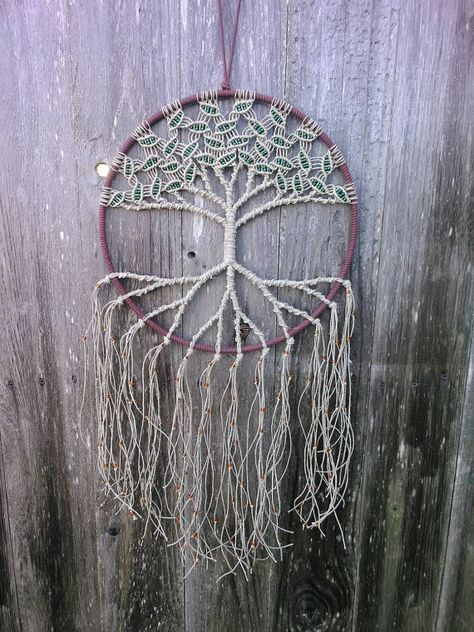 Hemp Tree of Life Dreamcatcher / Large / Macrame Wall Hanging / Hoop Art / Gift