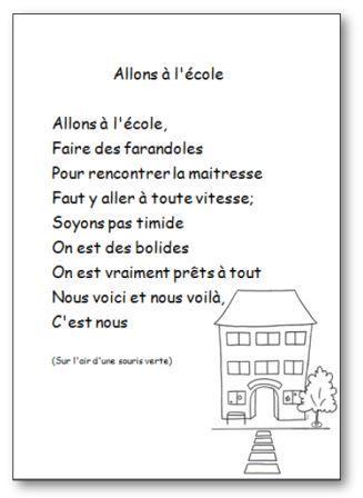 Comptine Allons à l'école en version imprimable illustrée. Retrouvez d'autres chansons, comptines et poésies en images