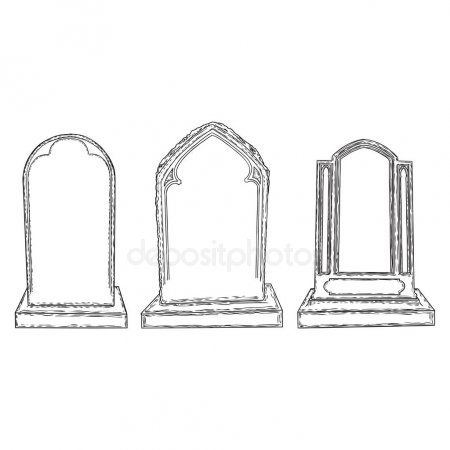 Set Of Tomb Stone Drawing Grave For Dead As Halloween Tombstone