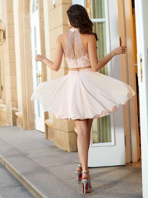 a7e9d250393 A-Line Princess Halter Beading Sleeveless Chiffon Short Mini Two Piece  Dresses