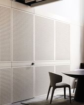 Whitewashed perforated ply hides or reveals the boardroom from the library in ou... - #boardroom #hides #library #perforated #reveals #whitewashed - #Alexandrine'sDiyproject