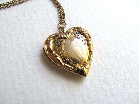 Vintage 1940s etched heart locket on long by MySoCalledVintage, $68.00