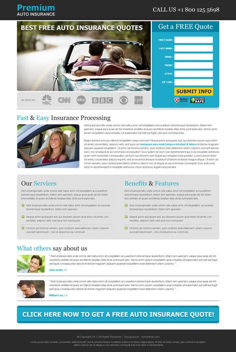 Auto Insurance Landing Page Design On Behance Car Insurance Auto Insurance Quotes Home Insurance Quotes