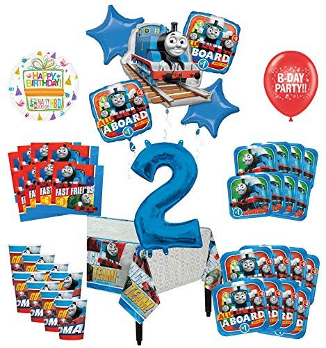 Mayflower Products Thomas The Train Tank Engine 2nd Birthday Party Supplies 8 Guest Decoration Kit And Balloon Bouquet Walmart Com Thomas The Train Birthday Party 1st Birthday Party Supplies Birthday Party Supplies