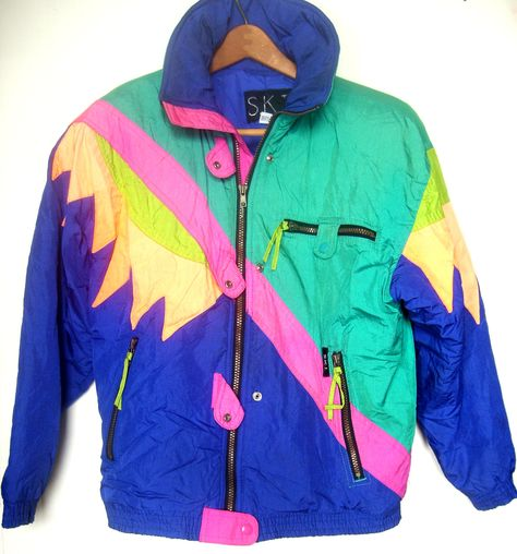 Womens clothes neon party purple green and blue hot tub time machine ski jacket m the neon collage 80 s ski jacket