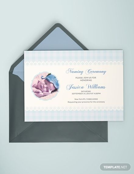 Free Wonderful Baby Naming Ceremony Invitation Card Naming