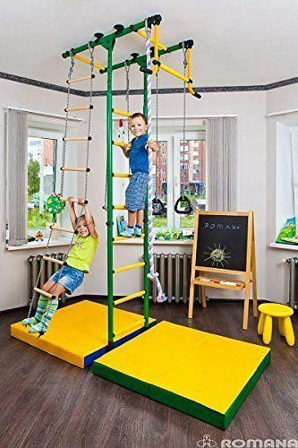 Playground Set For Kids Which Connects To The Floor And Ceiling Indoor Gym Training Sport Set With Accessories Equipment Trapeze Bar Swing Set Climber Cli