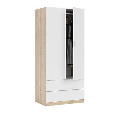 Armoire 2 Portes 2 Tiroirs Linea Imitation Chene Et Blanc Armoire 2 Portes Armoire Tiroir