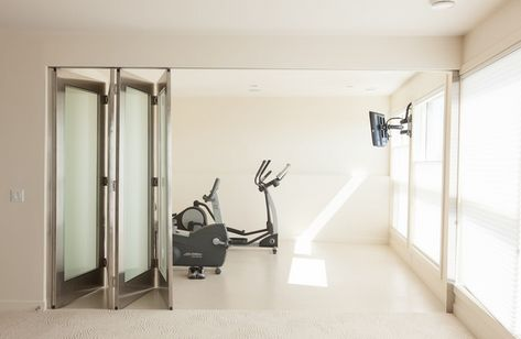 Contemporary home gym design ideas white rubber flooring white