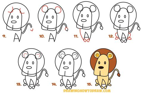 How To Draw Cartoon Lion From The Word Easy Step By Step Drawing Tutorial For Kids