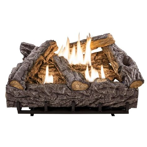 Emberglow 24 In Timber Creek Vent Free Dual Fuel Gas Log Set With Thermostat Tcvft24nldc English Cottage Gas Logs Natural Gas Fireplace Gas Fireplace Logs