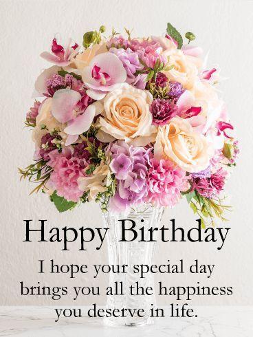Spectacular Flower Bouquet Happy Birthday Card Birthday