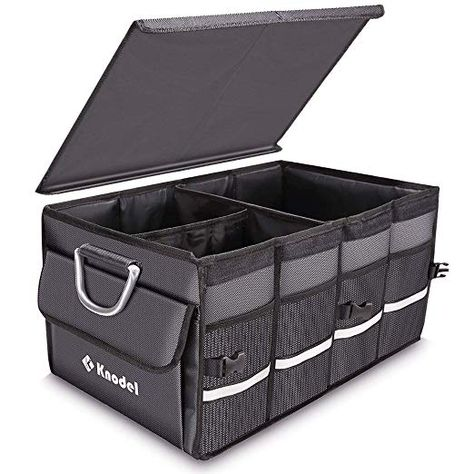 Car Trunk Storage Organizer Collapsible Cargo Storage Containers Portable Multi Compartments with Strap Handle