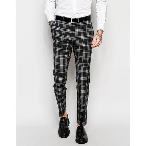 2854a3a96 ASOS Skinny Suit Trousers In Tartan Check ($30) ❤ liked on Polyvore  featuring men's fashion, men's clothing, men's pants, men's dress pants,  grey, mens ...