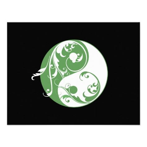 faire part      Défilement Yin et Yang (vert) Carton D'invitation