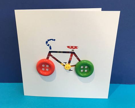 Bicycle Card with Button Wheels - Bike Card - Cycling Card - Paper Cut Handmade Greeting Card - Personalised Card - Birthday Card This fun hand cut bicycle with button wheels is the ideal card for any cycling mad child (or adult!) The tartan ribbon and buttons may vary in colour. All my