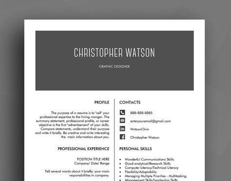 Professional Resume Template \/ CV Template + Cover Letter + - purpose of a resume