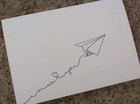 Paper airplane i miss you card, hand drawn, instant - Paper Flower Backdrop Wedding I Miss You Card, Miss You Gifts, Thank You Cards, I Miss You Messages, Mail Art Envelopes, Cute Envelopes, Decorated Envelopes, Addressing Envelopes, Pen Pal Letters
