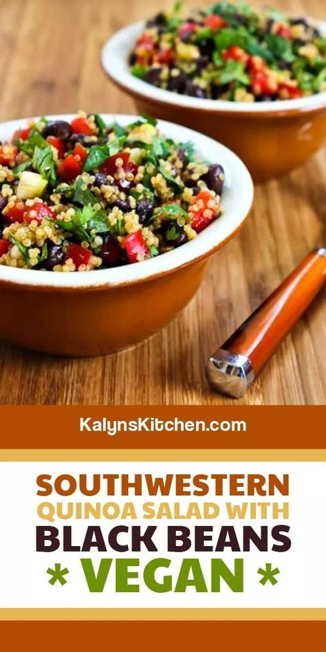 Luckily this Southwestern Quinoa Salad with Black Beans, Red Bell Pepper, and Cilantro is loaded with healthful ingredients, because it was hard to stop eating it! Use more thinly sliced green onion if you're not a cilantro fan. [found on KalynsKitchen.com] #SouthwesternQuinoaSalad #QuinoaSalad #BlackBeanQuinoaSalad