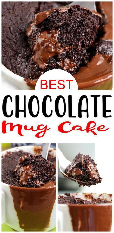 Get ready for the BEST microwave mug cake! Chocolate mug cake for one that is moist, tasty and delicious. An easy microwave chocolate cake recipe for a quick… Microwave Chocolate Cakes, Easy Chocolate Desserts, Mug Cake Microwave, Chocolate Cake Recipe Easy, Best Chocolate Cake, Köstliche Desserts, Homemade Chocolate, Chocolate Recipes, Easy Microwave Desserts