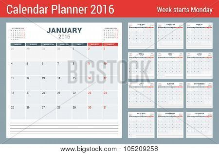 Calendar Planner For 2016 Year Vector Stationery Design Print   Menu  Calendar Template  Menu Calendar Template