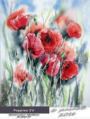 Akvarel Magie Mohn Iv In 2020 Blumen Aquarell Aquarell Blumen Wasserfarbenblumen