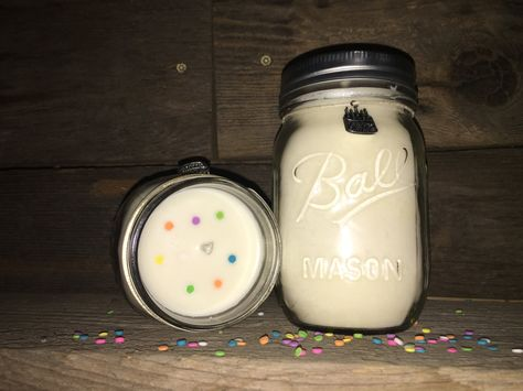 Birthday Cake Soy Candle in a pint size mason jar / birthday gift / for her by CatherinescCreations on Etsy