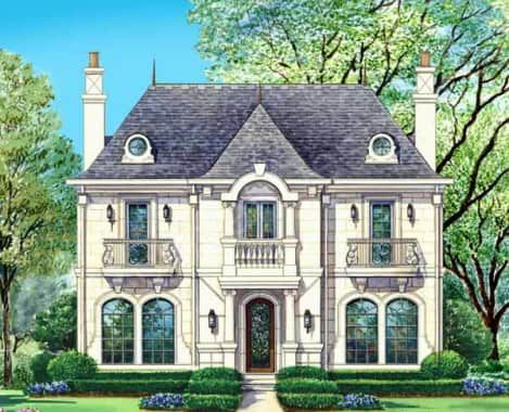 Potomac House Plan Potomac House Plan Exterior Archival Designs Narrow Lot House Plans Brick Exterior House Exterior