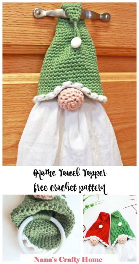 The Gnome Towel Topper is a free crochet pattern at Nana's Crafty Home! Perfect kitchen home decor for the gnome lover! So simple, easy & fast - a ring is added inside the hat to make your towel removable for easy washing! Yarn Projects, Knitting Projects, Easy Crochet Projects, Crochet Kitchen Towels, Knit Kitchen Towel Pattern, Crochet Towel Topper, Crochet Towel Holders, Crochet Christmas, Christmas Gnome