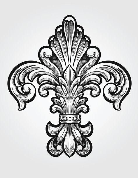 Illustration of drawing - 33176514 Tattoo Fleur, Filigree Tattoo, Body Art Tattoos, Tattoo Drawings, Medieval Tattoo, Ornament Drawing, Sketch Tattoo Design, Damask Stencil, Art Journal Techniques