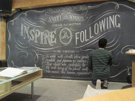 Smith Roberts Agency - Lobby Chalk Wall by Letters In Ink , via Behance