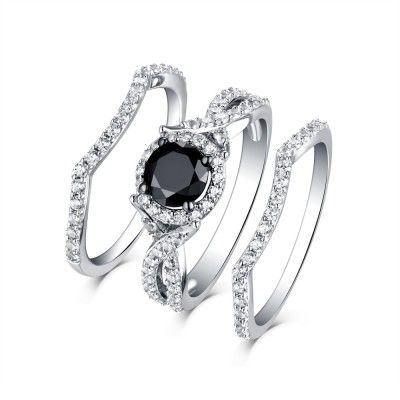 Find Cheap Wedding Ring Sets Under 100 From Our Matching His And Her Bridal Sets Col Cheap Wedding Rings Sets Black Diamond Ring Colored Stone Engagement Rings