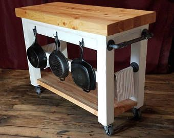 Industrial Farmhouse Kitchen Island Rolling Cart Rustic Butcher Block Wood Top Ste Butcher Block Island Kitchen Butcher Block Kitchen Rolling Kitchen Island