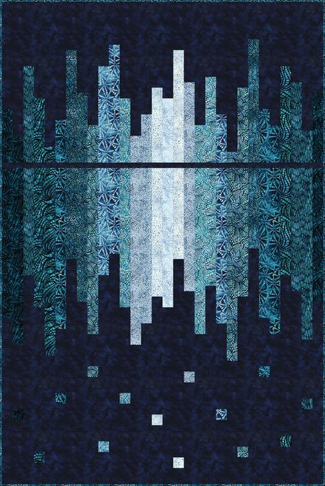 Skyline Reflected designed by Hunter's Design Studio. Features Artisan Batiks: Natural Formations by Lunn Studios, shipping to stores April 2019. Two colorways (Rain, Ocean). Pattern available for purchase (huntersdesignstudio.com) #artisanbatiks