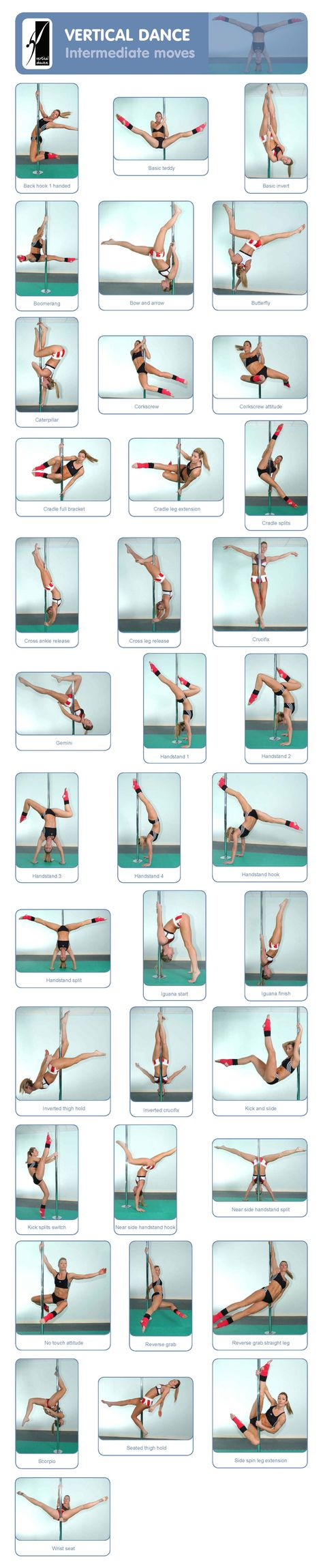 Intermediate pole tricks. Bit different from how I've been taught but can do many of these moves:)