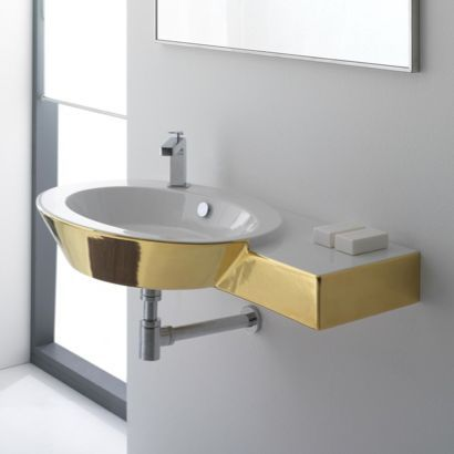 Ceramic Wall Mounted Or Vessel Bathroom Sink With Right Counter